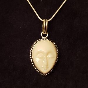 Stone face carving .935 Balinese goddess necklace